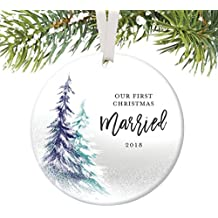 """Our First Christmas 2018, 1st Married Ornament, Best Wedding Gifts for Couple Xmas Mr and Mrs Together Man Woman Gay Present Idea Ceramic Keepsake 3"""" Flat Circle Porcelain with White Ribbon & Free Box"""