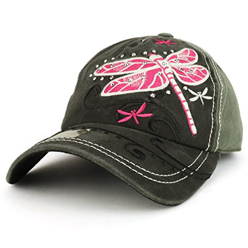 - Trendy Apparel Shop Dragonfly Embroidered Stitch Multi Color Baseball Cap - Grey Charcoal