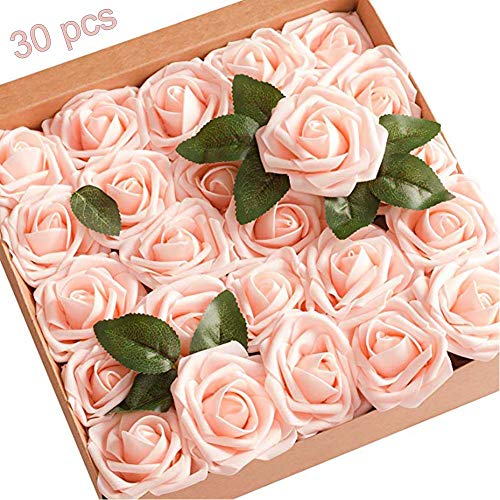 Artificial Flowers,Hobein 30 pcs Real Looking Fake Roses Decoration for DIY Wedding Bridesmaid Bridal Bouquets Centerpieces, Party Decoration, Home Display Decorations,Baby Shower Party