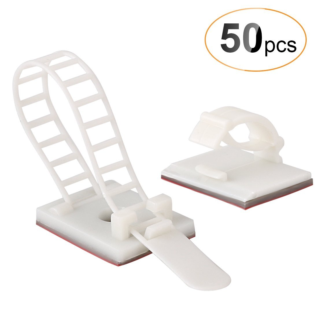 AGPTEK 50 Pieces Adhesive Cable Management Set, (Includes 25 Pieces Cable Clips & 25 Pieces Adjustable Cable Ties), White C2W-EU