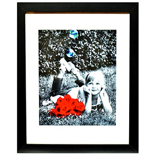 11x14 Inch Picture Frame Black (1-pack) - HIGH DEFINITION GLASS FRONT COVER - Displays 11 by 14