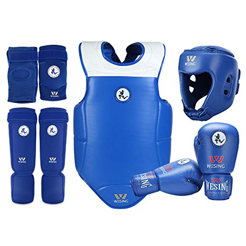WESING Muay Thai Protective Gears Set Approved by IFMA Chest Guards Elbow Braces Shin Protectors
