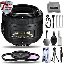 Nikon AF-S DX NIKKOR 35mm f/1.8G Lens for Digital DSLR Cameras with Filter & Deluxe Cleaning Kit & 7 Year Warranty