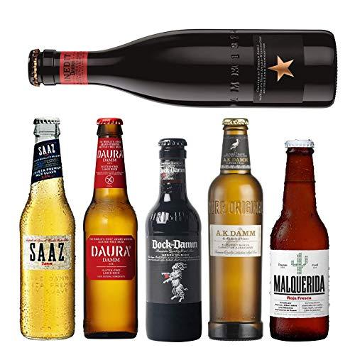 Pack de cervezas Damm – AK Damm, Malquerida cerveza, Damm Daura, Saaz, Inedit Damm, Bock Damm – Cervezas para…