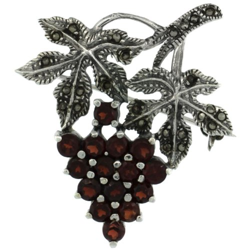 Sterling Silver Marcasite Grape Cluster Brooch Pin w/ Round Garnet Stones, 1 9/16 in. (40mm) tall Sterling Silver Marcasite Pin Brooch