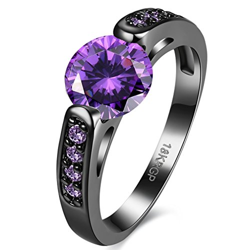 Jewelry Created Purple Amethyst Diamonds Tungsten Stainless Steel Black Gold Plated Christmas Best Friend Engagement Wedding Black Gold CZ Rings for Womens Size 7 (Created Amethyst Steel Stainless Ring)
