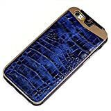 Fine Crocodile Alligator Lettered Pattern Leather Metal Frame Protective Case Handmade for Apple iPhone 8 Plus 7 Plus iPhone 6 6S Plus Blue