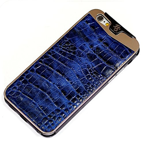 Fine Crocodile Alligator Lettered Pattern Leather Metal Frame Protective Case Handmade for Apple iPhone 8 Plus 7 Plus iPhone 6 6S Plus Blue by BestSkin - VertuiPhoneiPad Leather cases