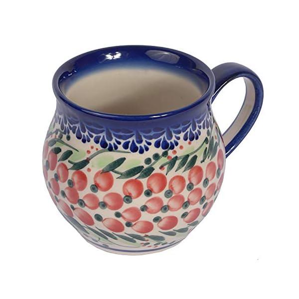Traditional Polish Pottery, Handcrafted Ceramic Bubble Mug (350ml), Boleslawiec Style Pattern, Q.502.Cranberry