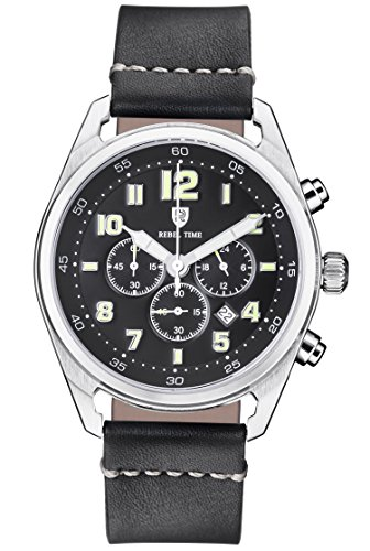 Rebel Men's Classic Black Stainless Steel Chronograph 100 Meter WR Field Watch by Rebel Time