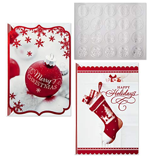 Hallmark Christmas Boxed Card Assortment, Ornament and Stocking (40 Cards with Envelopes and Gold Seals) (Christmas Cards)
