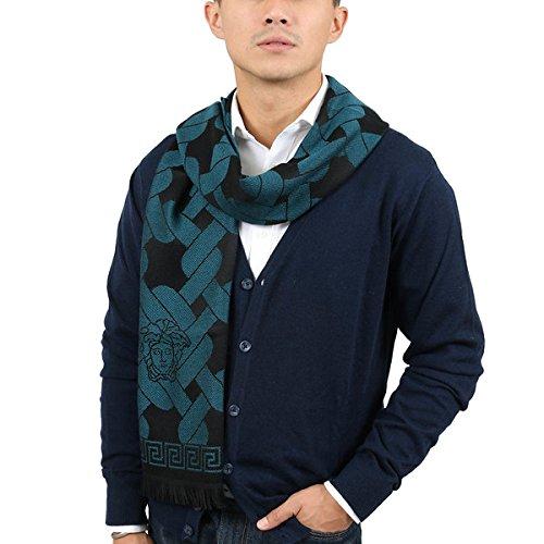 Versace IT00633 PETROLIO Teal 100% Wool Mens Scarf