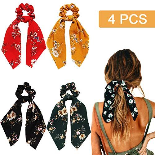 (4Pcs Hair Scrunchies Chiffon Scarf Hair Ties Elastic Hair Bands Ponytail Holder Flower Printed Hair Bobbles Vintage Accessories for Women Girls )