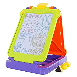 SGILE 2 Board 4 Color Foldable Magnetic Doodle Sketch Pad for Kids Toddler Child, 2-in-1 Erasable Magna Drawing Scribble Board Magnetic Writing Board & Drawing Pad for Learning Development