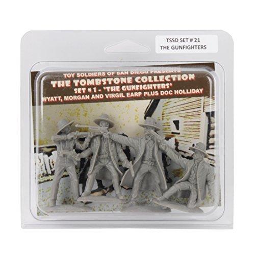 TSSD TOMBSTONE Earps & Doc Holliday: 4 GRAY 1:32 Plastic Cowboy Figures (Plastic Tombstone)