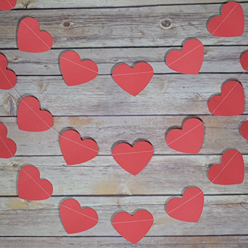 PaperLanternStore.com Red Heart Shaped Valentine's Day Paper Garland Banner (10FT)