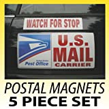 U.S. Mail Delivery Magnetic Sign Rural Carrier Magnet USPS 5 Piece Set Red