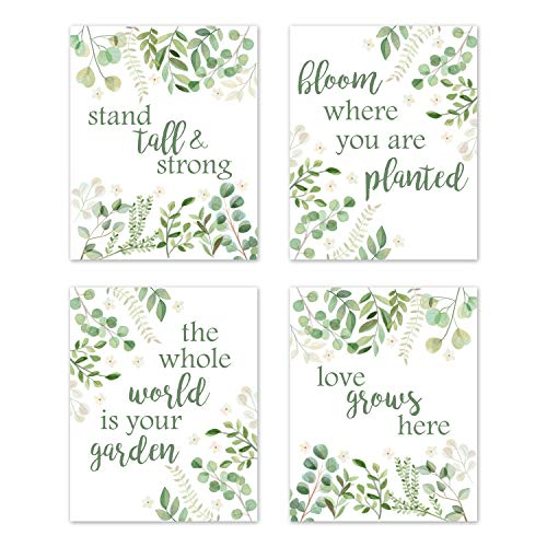 Sweet Jojo Designs Floral Leaf Wall Art Prints Room Decor for Baby, Nursery, and Kids – Set of 4 – Green and White Boho Watercolor Floral Leaf Botanical Woodland Tropical Garden