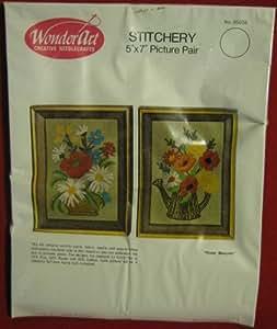 """Wonder Art Wonderart Creative Needle Crafts Needlecrafts """"Flower Bouquets"""" Stitchery 5"""" X 7"""" Picture Pair 05034"""