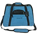 Mr. Peanut's Airline Approved Soft Sided Pet Carrier, Two-Tone Luxury Travel Tote with Fleece Bedding, New Design, Under Seat Compatability, Perfect for Cats and Small Dogs (Deja Blue)