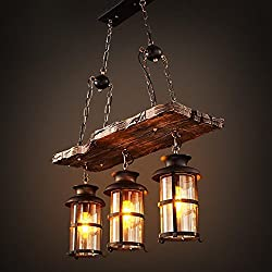 Joypeach 3 Heads Industrial Loft Style Countryside Vintage Wooden Chandelier Lamp For Living Room / Dining Room Pendant Lamp (110V)
