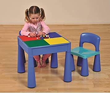 9388c76f5a89 Liberty House 5 in 1 Multipurpose Activity Table   2 Chairs Blue   Amazon.co.uk  Kitchen   Home