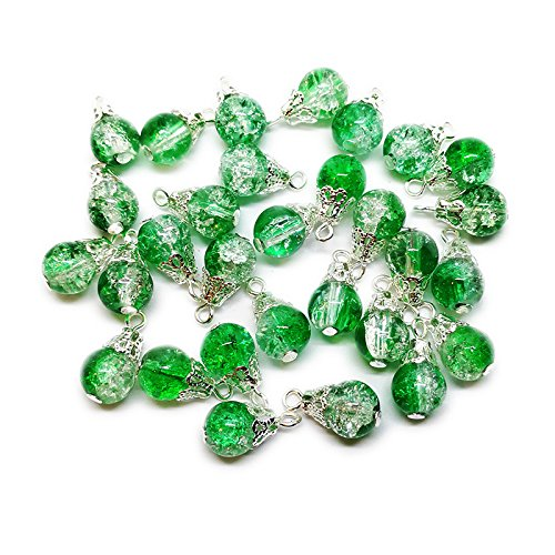 30pcs Handcrafted Crackle Glass Beads Drops w/Silver Wire & Bead Cap for Jewelry Making by Beading Station (Green) ()