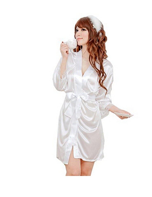 TopOne Women's Silk Pajamas Butterfly Loose Dress Sleepwear NC-SCWP-FQ2S