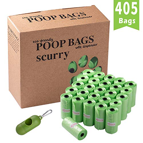 scurry Dog Waste Bags, 27 Rolls/405 Count Thick and Strong Dog Poop Bags with Bag Dispenser, Disposable Pet Poop Bags…