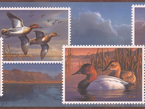 (Ducks on Postage Stamps Evening Lake Wallpaper Border Retro Design, Roll 15' x 10'')