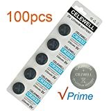 CELEWELL 100 Pack CR2032 3V Lithium Battery Bulk CR 2032 Coin Cell