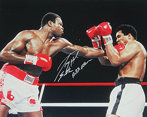 Muhammad Ali Signed Photo (Larry Holmes Signed Boxing Puching Muhammad Ali Action 16x20 Photograph w/Easton Assassin - Authentic Autograph)