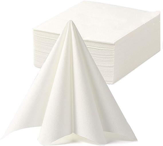 50 LUXURY NAPKINS WHITE SERVIETTES