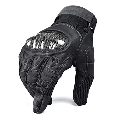 TACVASEN Men's Hard Knuckle Motorcycle Motorbike Cycling Racing Tactical Airsoft Full Finger Gloves Black