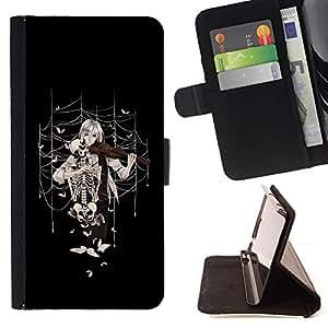 For Samsung Galaxy A5 ( A5000 ) 2014 Version Case , Anime la muchacha del violín- la tarjeta de Crédito Slots PU Funda de cuero Monedero caso cubierta de piel