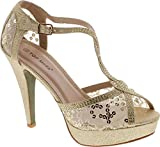 Top Moda Hy-5 Formal Evening Party Lace Ankle T-strap Peep Toe Stiletto High Heel Pumps,gold,8 | amazon.com
