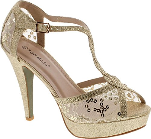 Top Moda Hy-5 Formal Evening Party Lace Ankle T-Strap Peep Toe Stiletto High Heel Pumps,Gold,5.5