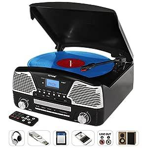 AMOS Tocadiscos Jugador de Vinilo Retro LP & CD Disco ...