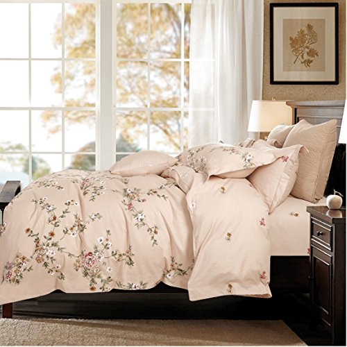 Cottage Country Style 3 Piece Duvet Cover Set Multicolored Roses Peonies Bouquet 100-percent Cotton Shabby Chic Reversible Floral Bedding (Queen, Shell) (Bouquet Rose Peony)