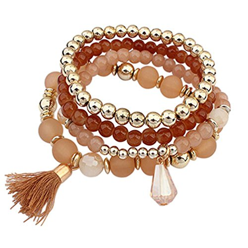Ameesi 4Pcs/Set Women Ethnic Multilayer Resin Beads Tassels Cuff Bracelets Fashion Jewelry - Coffee