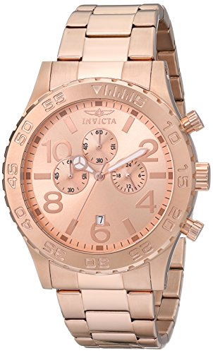 (Invicta Men's 1271 Specialty Chronograph Rose Dial 18k Rose Gold Ion-Plated Watch)
