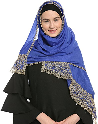 Ababalaya Lace Decorated Wedding Hijab Islamic Hijab, Royal Blue