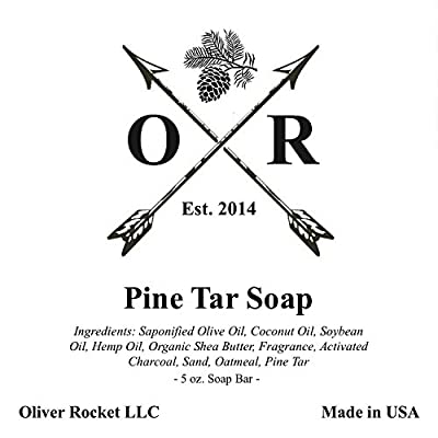 Oliver Rocket Pine Tar Soap (3 bar set) - 5 ounces each - Mens Face and Body Exfoliating Black Soap Bar with Pine and Activated Charcoal - Handmade in USA with Coconut Oil and Olive Oil from Oliver Rocket