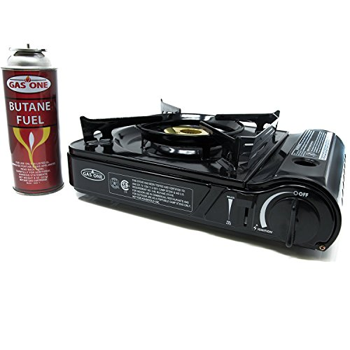 Gas Stove Cook - GAS ONE GS-3800DF Brass Head Burner with Dual Spiral Flame 11,000 BTU Portable Gas Stove with Heavy Duty Clear Carrying Case, CSA Listed