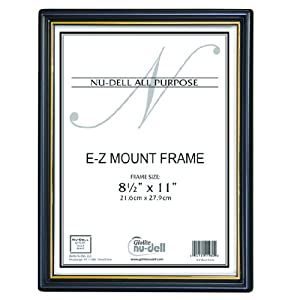 "NuDell (18) 8.5"" x 11"" Economy EZ Mount Document Frame with Plastic Face VALUE PACK, Black w/ Gold Trim"
