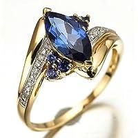 sirimongkol Jewellry Size 6-12 Womens Blue Sapphire Gold Filled Engagement Wedding Rings (6)