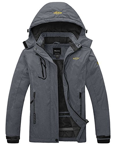Snowboard Jacket Hood (Wantdo Women's Waterproof Mountain Jacket Fleece Windproof Ski Jacket Snowboarding Jacket (US L) Dark Grey)