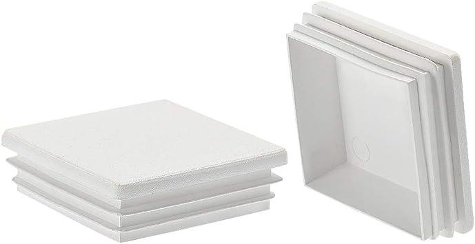 sourcing map 20uds 60x60mm Tapón cuadrado de Tubo de plástico Blanco para Pasamanos Escalera Barandilla Tubo: Amazon.es: Bricolaje y herramientas