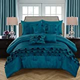 Chic Home 10 Piece Denver Rouching Pleated Ruffles Complete Bed In A Bag Comforter Set Sheets Set And Deocrative Pillows Included, King, Teal