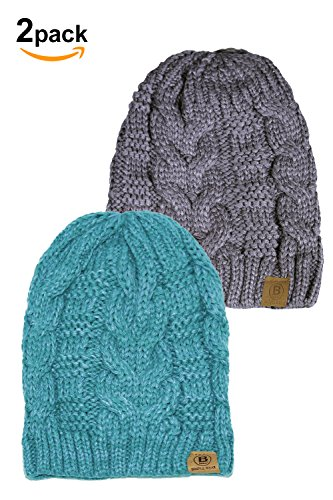 Basico Unisex Warm Chunky Soft Stretch Cable Knit Beanie Cap Hat (102 2pk BB Teal/BB Cgrey)